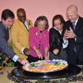 Rex,Zulu,City Council and Mayor Cutting the Kings Cake to signal the start of Carnival